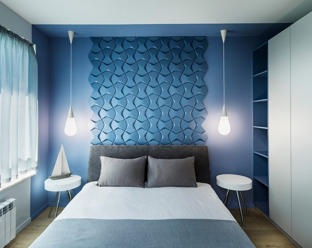 морска спалня, пана, дизйан на стена, мебели за спалня, осветление за спалня