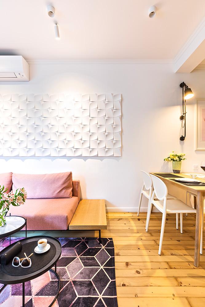 триизмерни елементи, акцент в хола, модернистичен дизайн на хол, мебели за хол