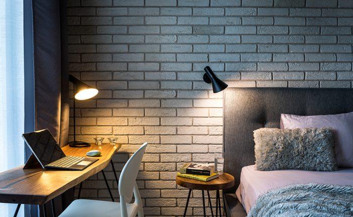 интериорен дизайн, спалня, бюро, хоум офис, мебели за спалня