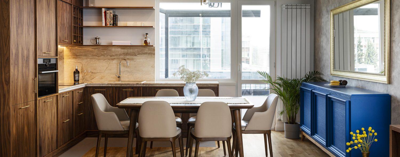 трапезария, интериорен дизайн, мебели и осветление за трапезария